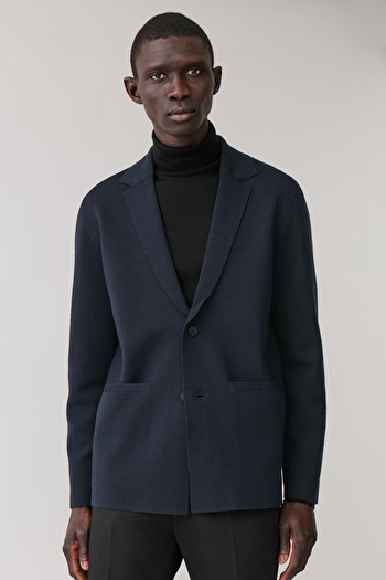 COS KNITTED WOOL-MIX BLAZER,navy