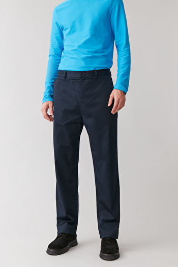 COS COTTON TROUSERS WITH A BIB FRONT,navy