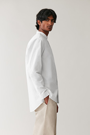 COS GRANDAD SHIRT WITH TOPSTITCHED DETAILS,White
