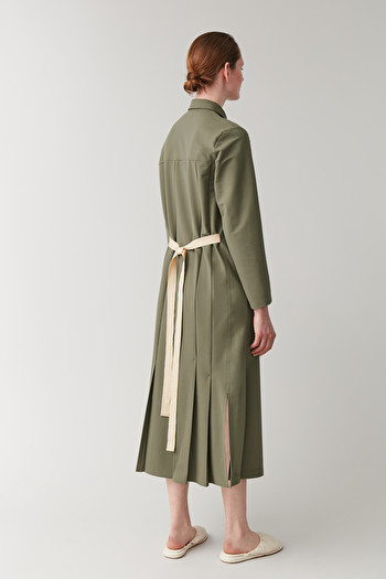 COS BELTED BUTTON-UP DRESS,Khaki