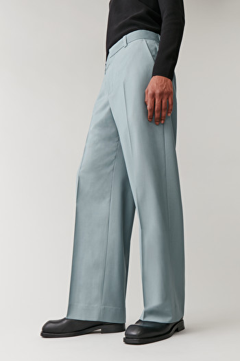 COS LONG WIDE-LEG WOOL TROUSERS,Turquoise