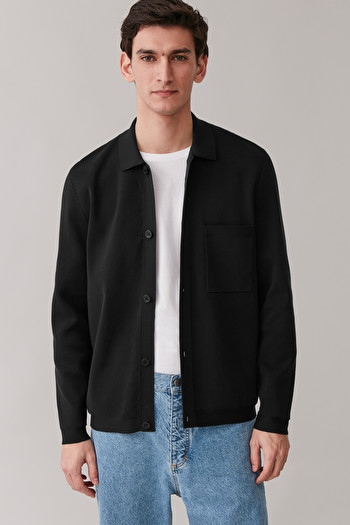 COS KNITTED COTTON JACKET,black
