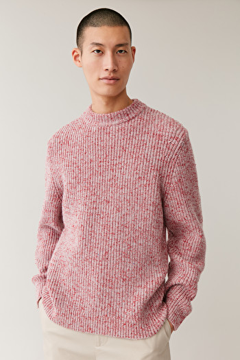 COS CHUNKY MOULINE-KNIT JUMPER,Red