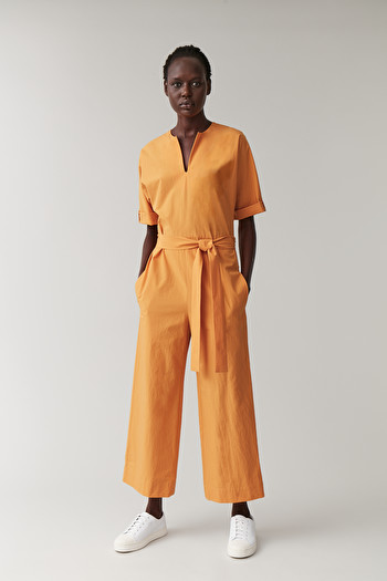 COS OPEN V-NECK COTTON JUMPSUIT,orange