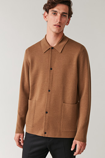 COS KNITTED WOOL CARDIGAN,Brown