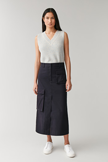 COS COTTON SKIRT WITH PATCH POCKETS,navy