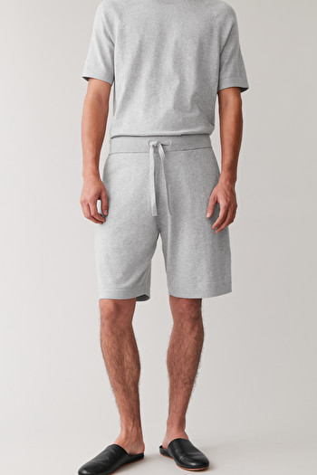 COS COTTON-CASHMERE KNITTED SHORTS,Grey