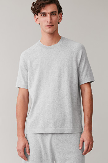 COS COTTON-CASHMERE KNITTED T-SHIRT,Grey