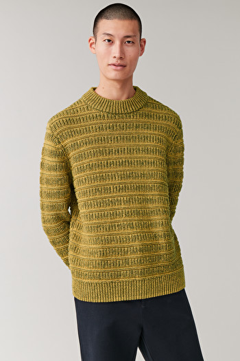 COS CHUNKY-KNIT ROUND-NECK JUMPER,Yellow \/ black
