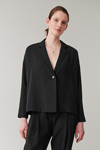 COS WIDE RELAXED BLAZER,black