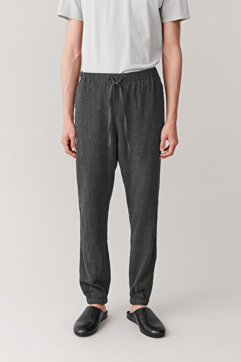 COS COTTON FLANNEL TROUSERS,Gray