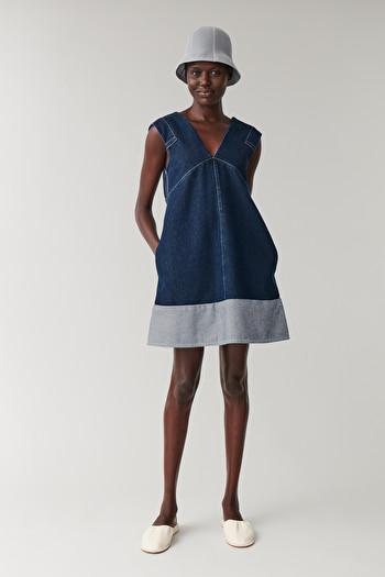 코스 원피스 COS DENIM A-LINE DRESS,Dark Blue