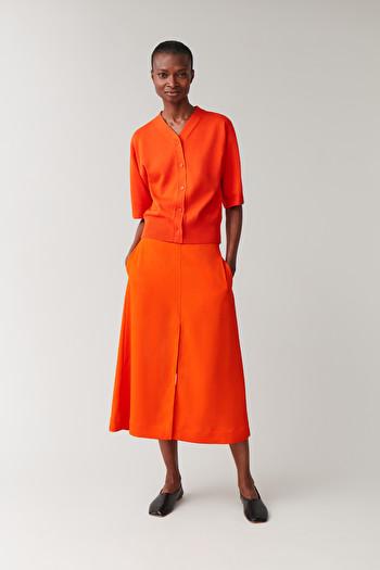 코스 에이라인 스커트 COS A-LINE SKIRT WITH SLITS,orange