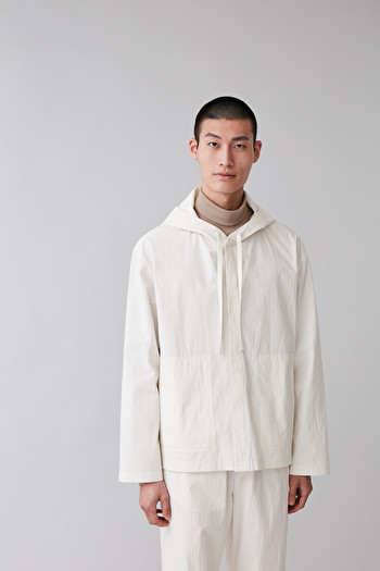 COS COTTON HOODED JACKET,white