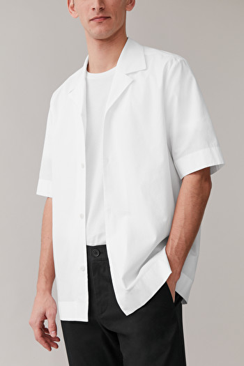 COS CAMP COLLAR COTTON-MIX SHIRT,white
