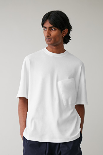 COS ANGLED-POCKET T-SHIRT,White