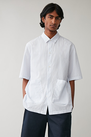 COS WIDE SLANTED-POCKET SHIRT,White  blue
