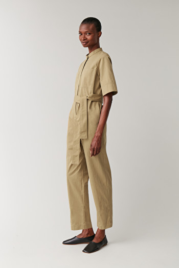 COS SHORT-SLEEVED COTTON-MIX JUMPSUIT,beige