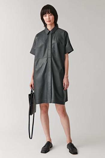 코스 셔츠 원피스 COS LEATHER SHIRT DRESS,dark grey
