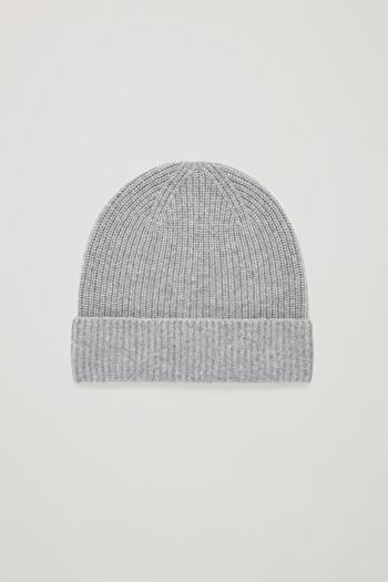 COS KNITTED CASHMERE HAT,Light grey melange