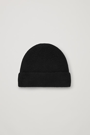 COS KNITTED CASHMERE HAT,Black