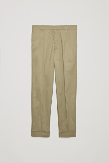 COS BRUSHED-COTTON PRESS-FOLD CHINOS,Beige