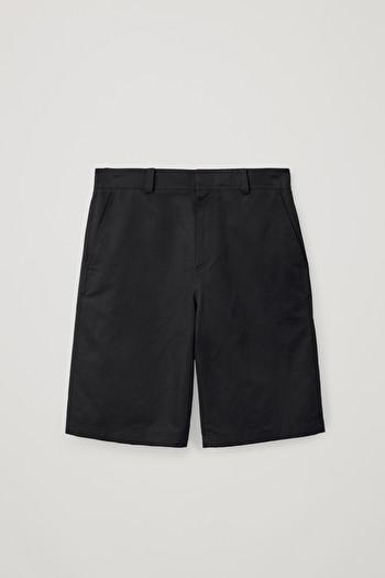 코스 반바지 COS LONG COTTON-LINEN SHORTS,Black