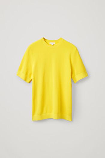코스 티셔츠 COS MOSS-STITCHED COTTON TOP,Vibrant yellow