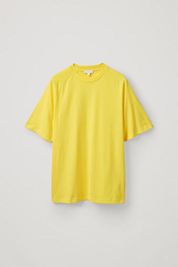 코스 티셔츠 COS RELAXED MOCK-NECK T-SHIRT,Vibrant yellow
