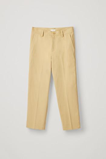 코스 바지 COS BRUSHED COTTON TWILL PANTS,Yellow