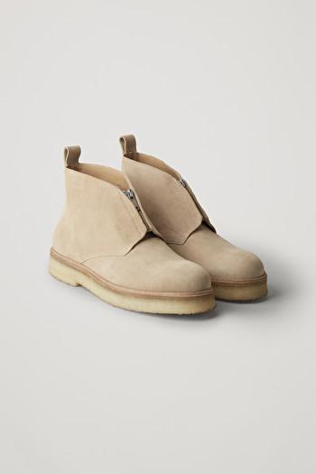 코스 맨 부츠 COS SUEDE DESERT BOOTS WITH ZIP,Light beige