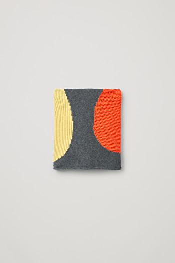 코스 코튼 울 스커트 COS INTARSIA COTTON-WOOL SKIRT,grey \/ yellow \/ orange