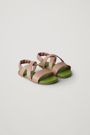 COS LEATHER CROSSOVER-STRAP SANDALS,green  brown