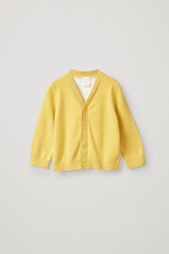 코스 키즈 가디건 COS TWO-COLOUR ORGANIC COTTON CARDIGAN,Yellow  White
