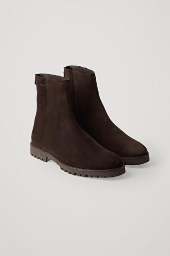 코스 맨 부츠 COS WATERPROOF-SUEDE ZIPPED BOOTS,Dark brown