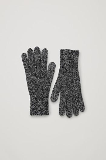 COS CASHMERE MOULINE GLOVES,Grey \/ black