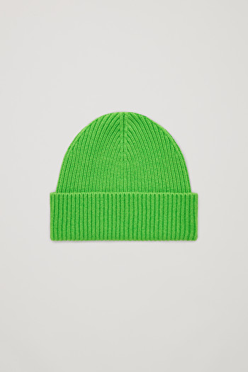 COS CHUNKY RIBBED CASHMERE BEANIE,bright green