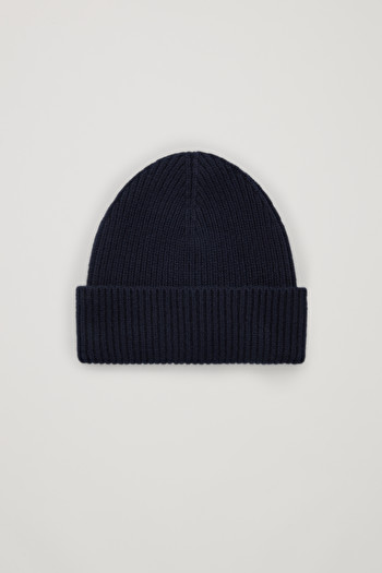 COS CHUNKY RIBBED CASHMERE BEANIE,blue