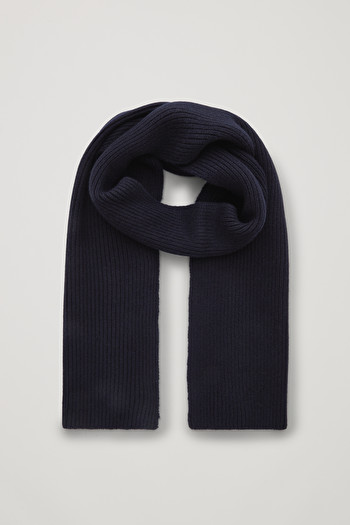COS CHUNKY RIBBED CASHMERE SCARF,navy