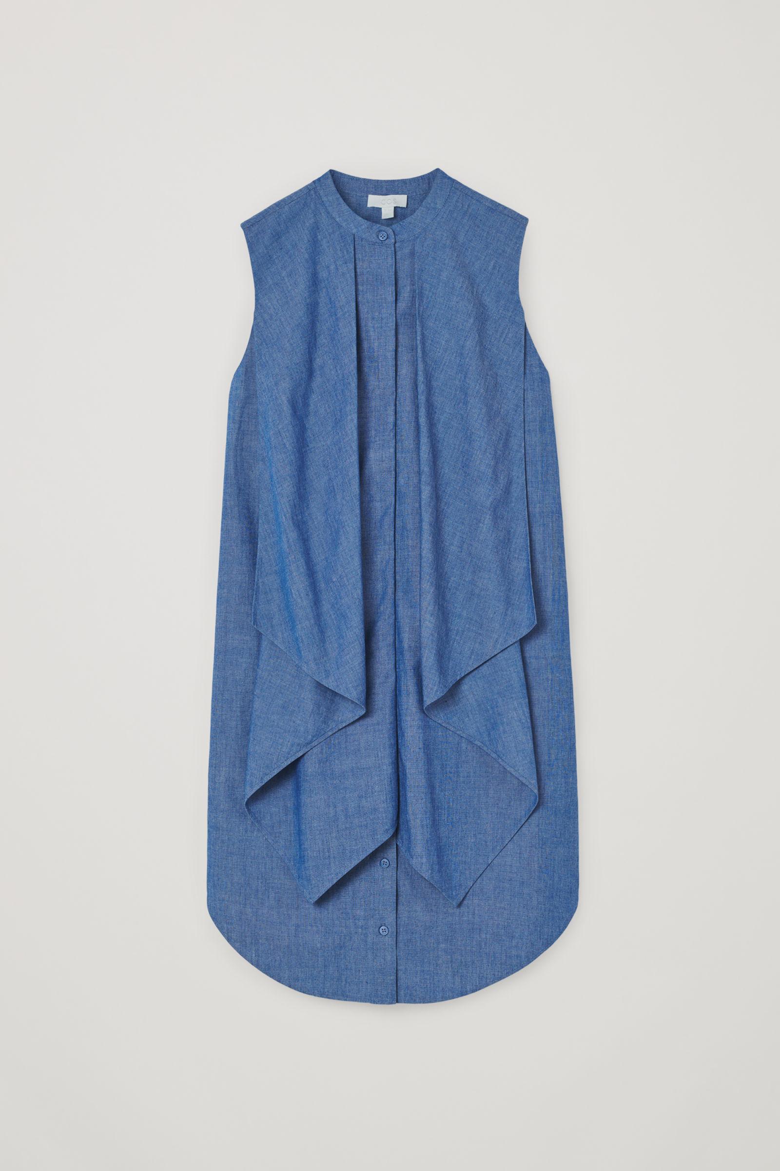 코스 청 민소매 원피스 COS ORGANIC COTTON RUFFLED DENIM DRESS,Blue