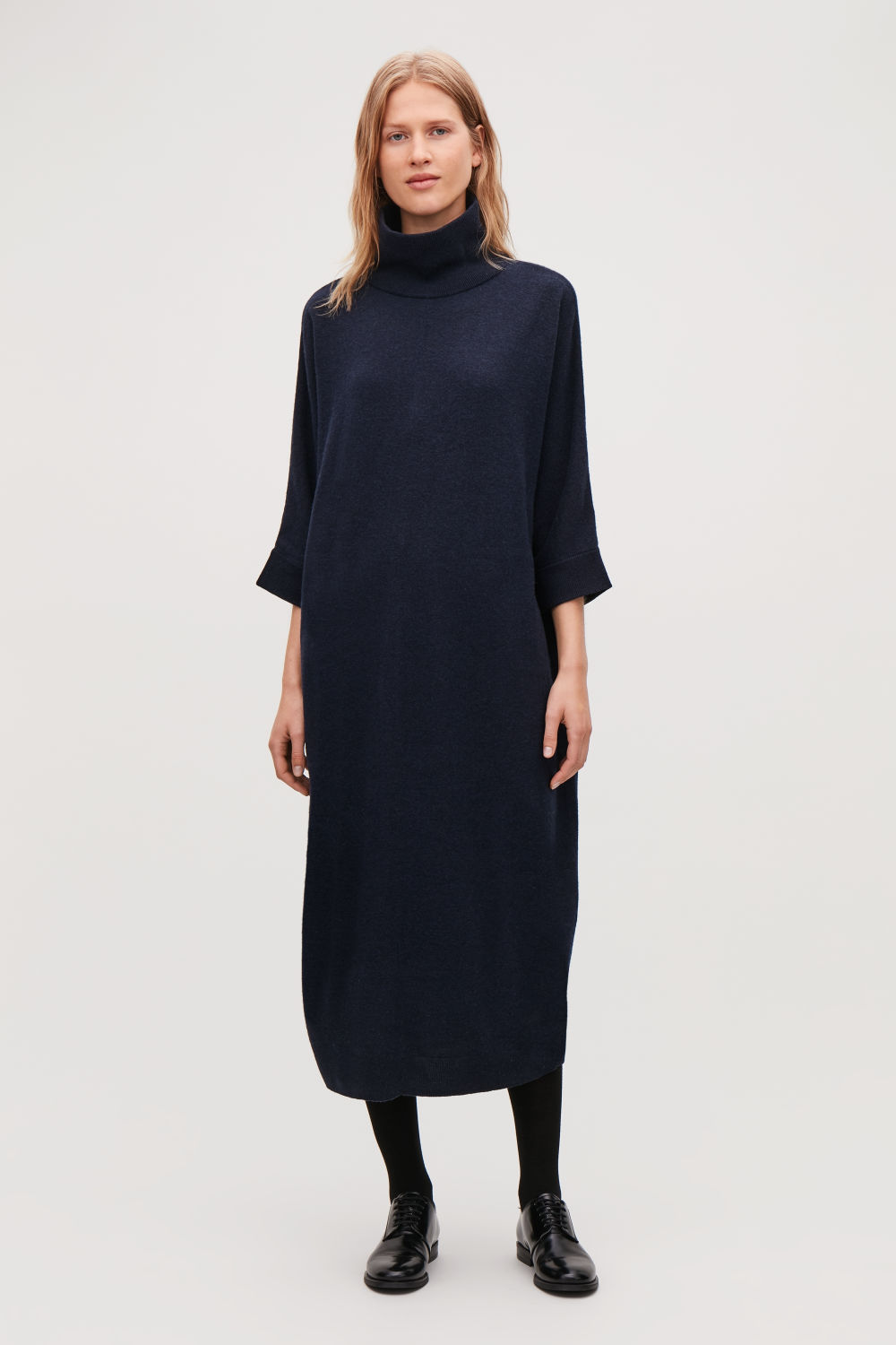 코스 COS OVERSIZED HIGH-NECK DRESS,Navy melange