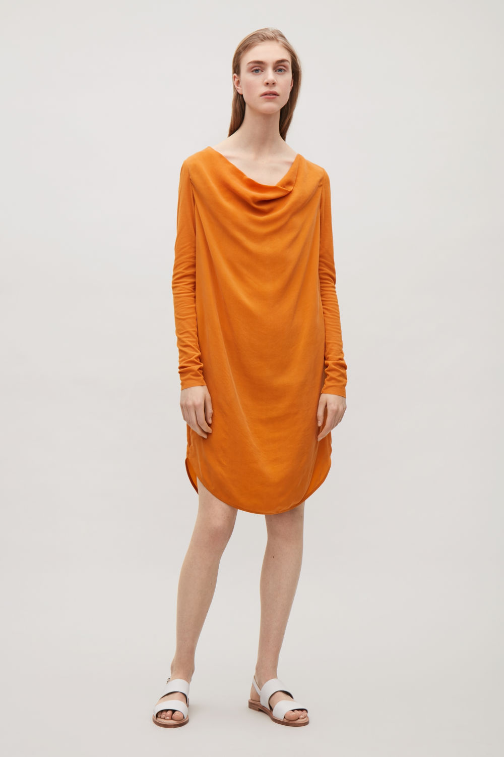 COS DRESS WITH DRAPED NECK,Apricot