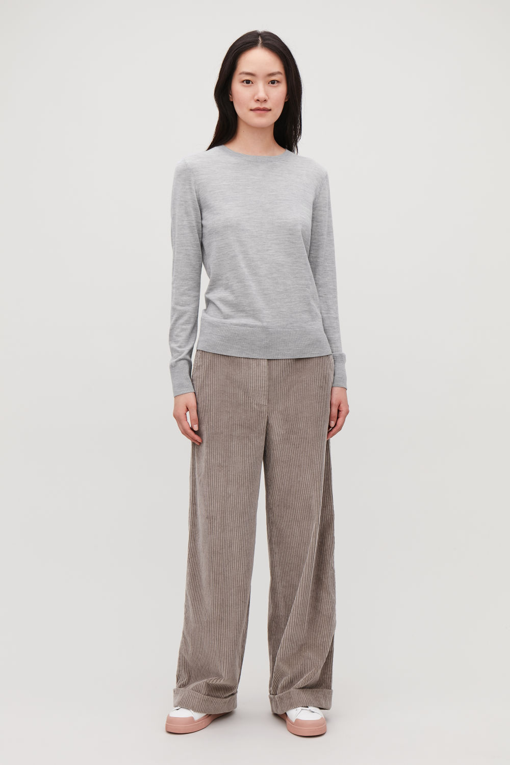 코스 COS ROUND-NECK MERINO JUMPER,Light Grey