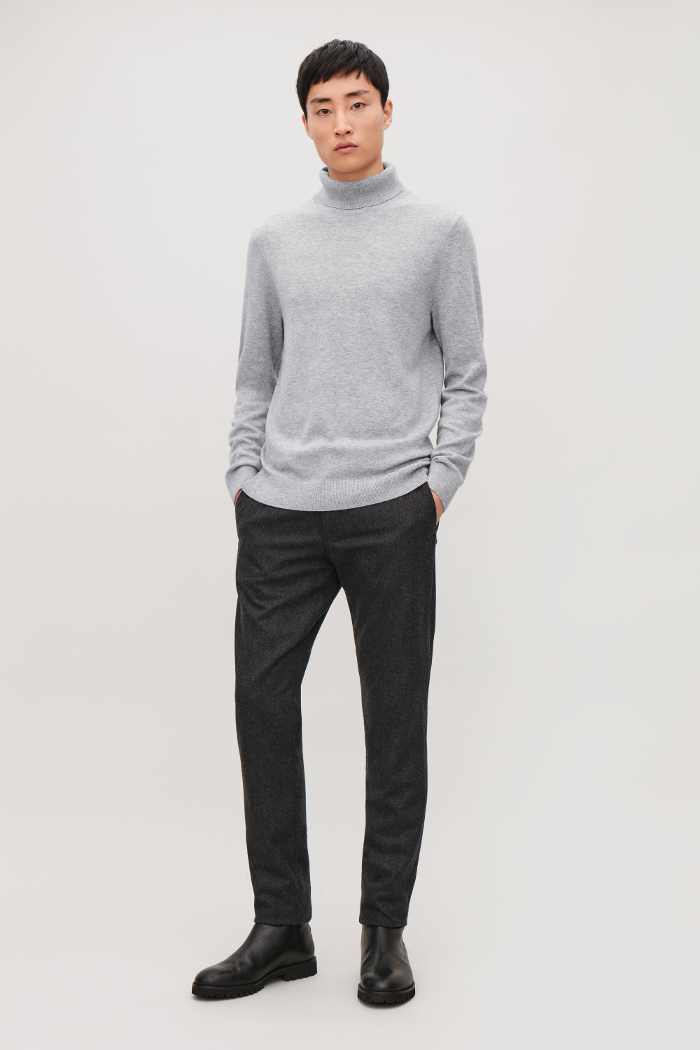 코스 COS WOOL-YAK ROLL-NECK JUMPER,Light Grey melange