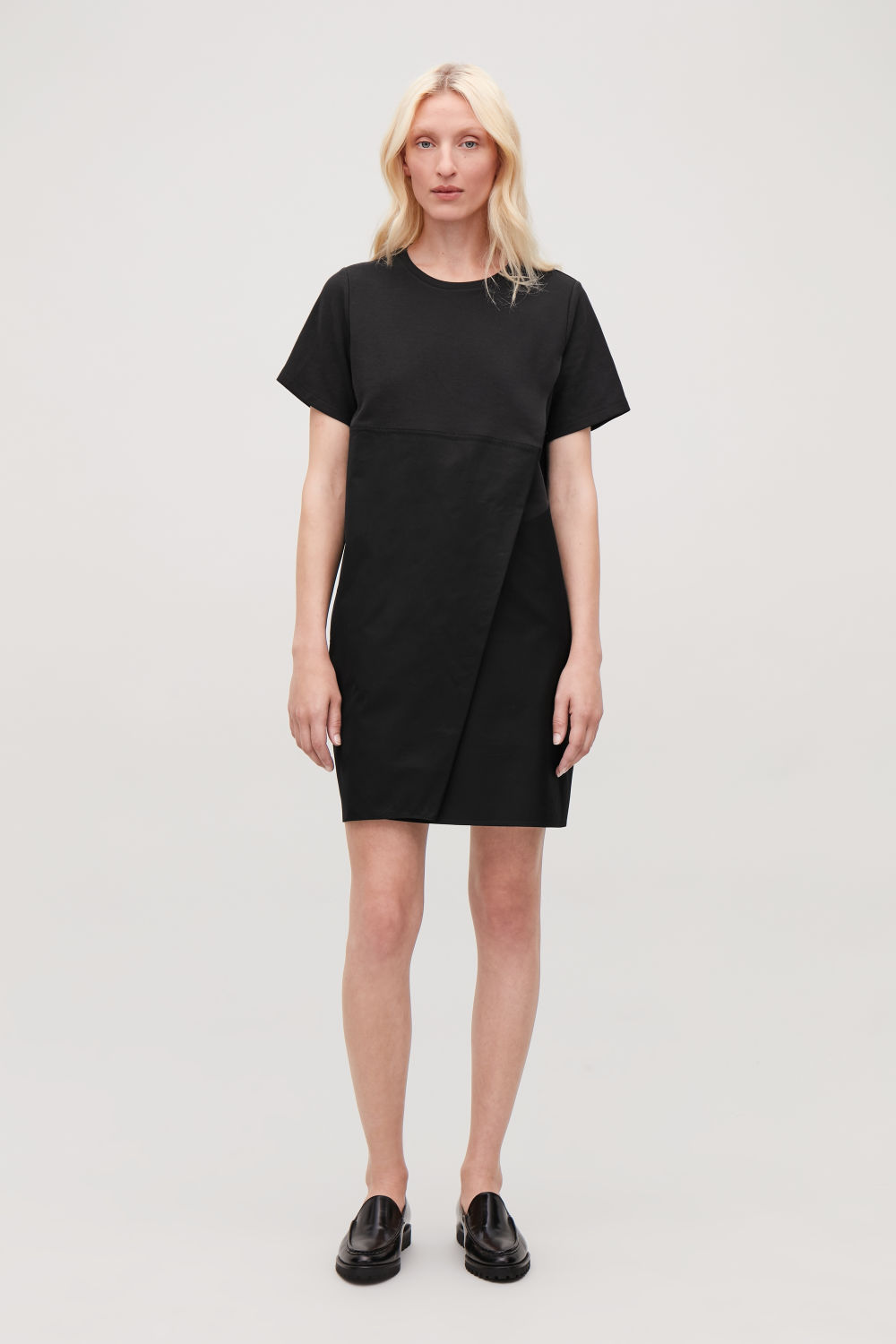 COS DRESS WITH OVERLAP FRONT,Black