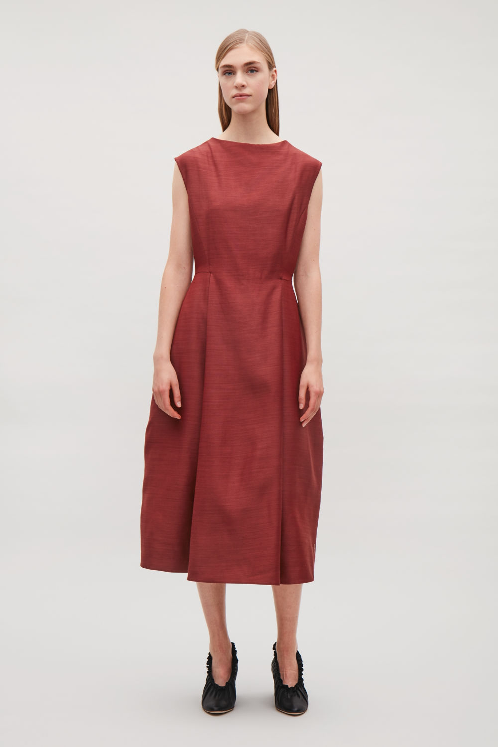COS SILK DRESS WITH RAISED NECK,Red