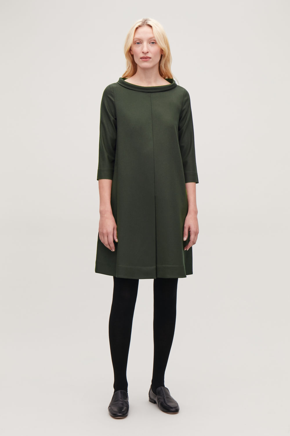 COS FOLDED-COLLAR A-LINE DRESS,Olive Green