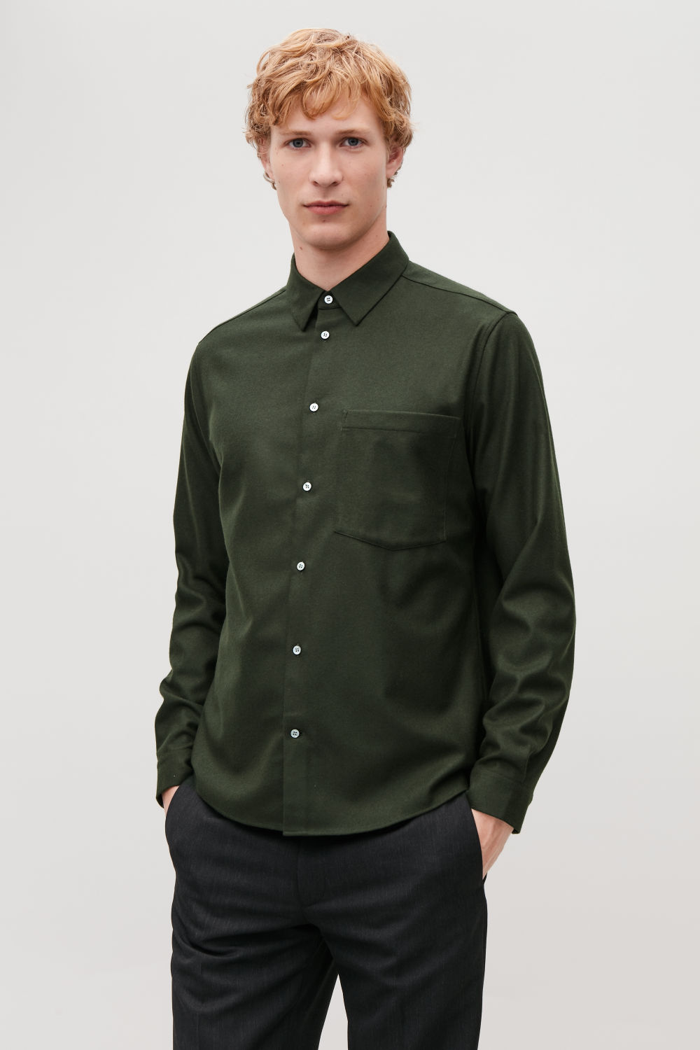 코스 COS FELT WOOL SHIRT,Khaki green
