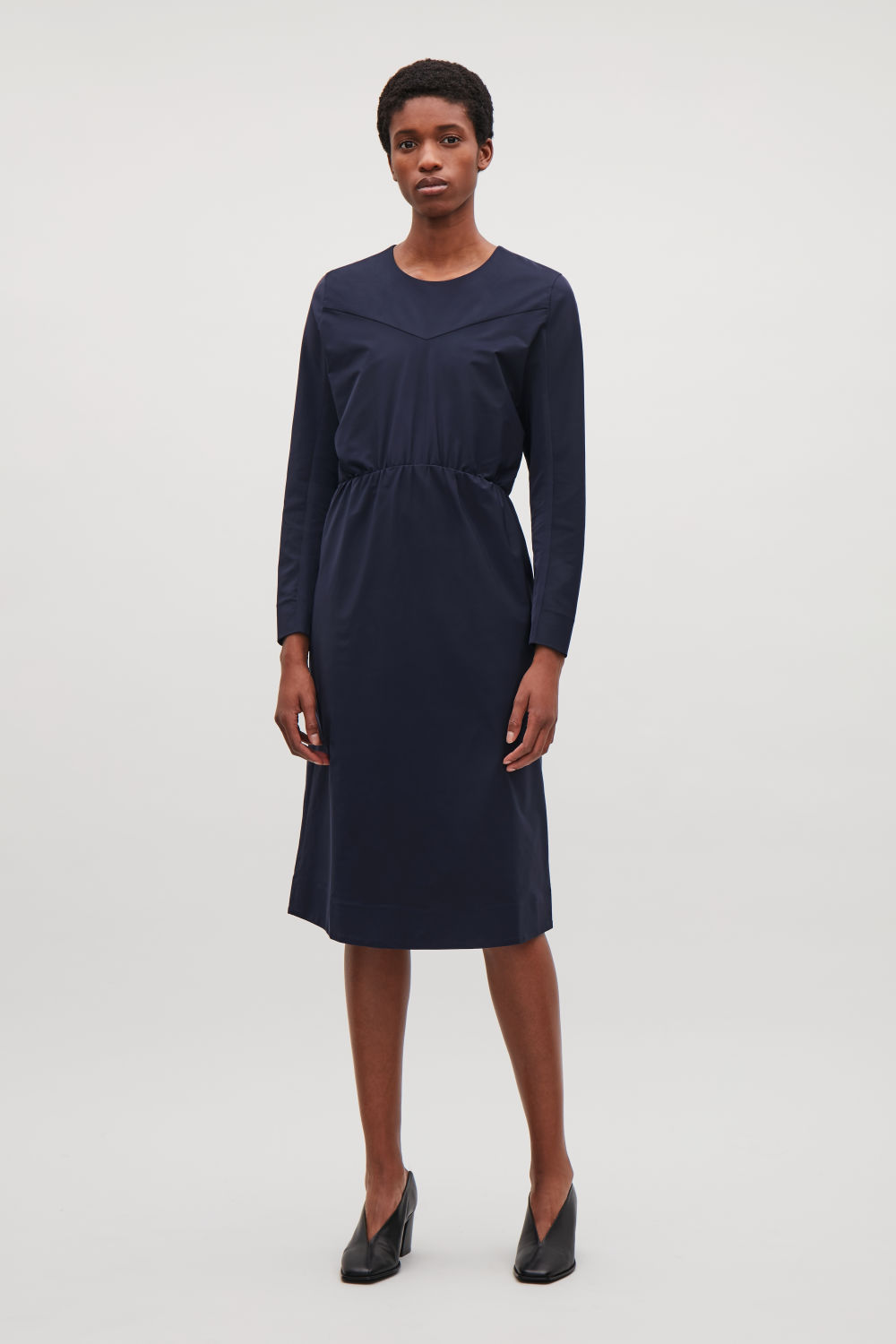 COS DRESS WITH TWO-PIECE SLEEVES,Navy