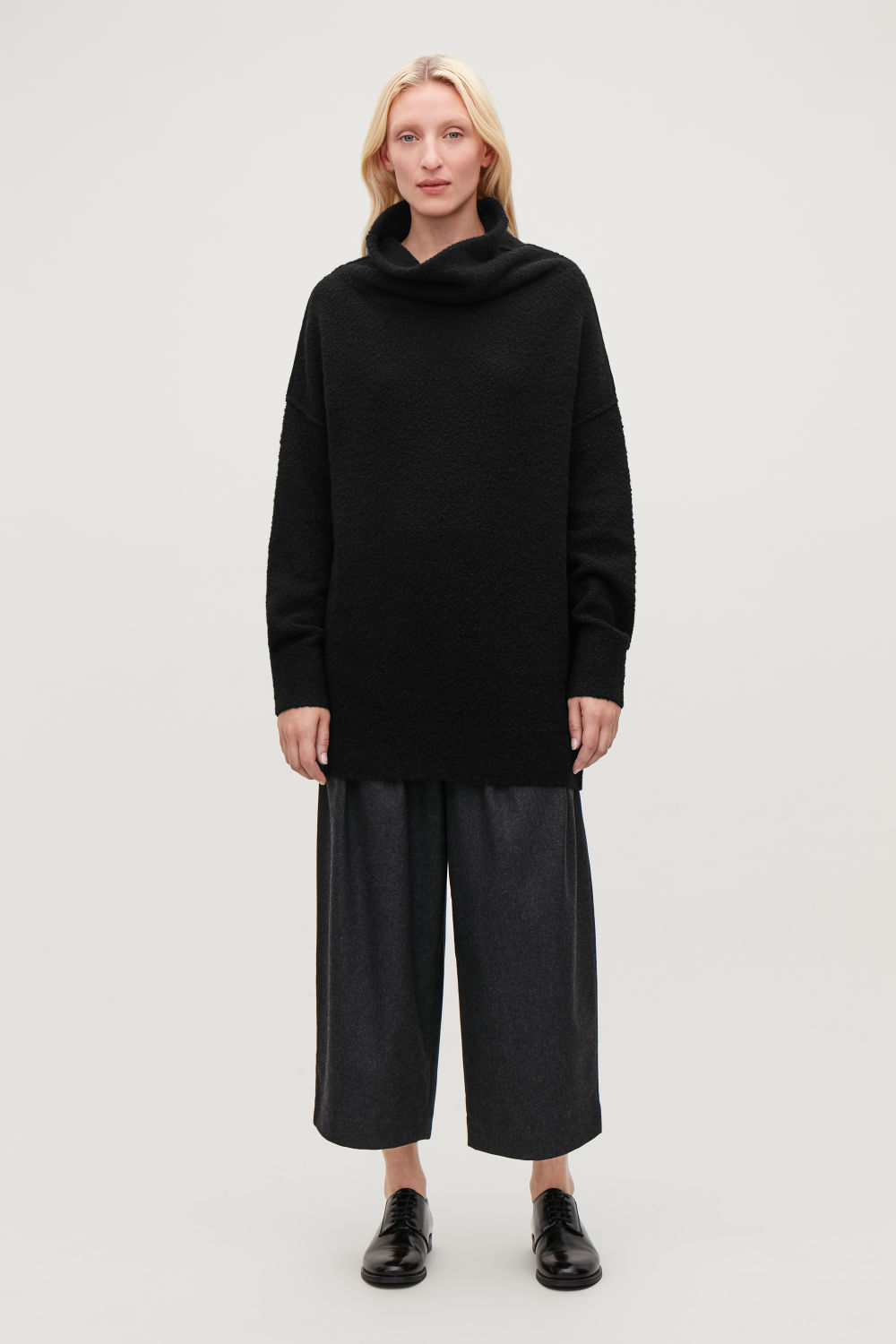 코스 COS BOBBLE-STITCH OVERSIZED JUMPER,Black melange
